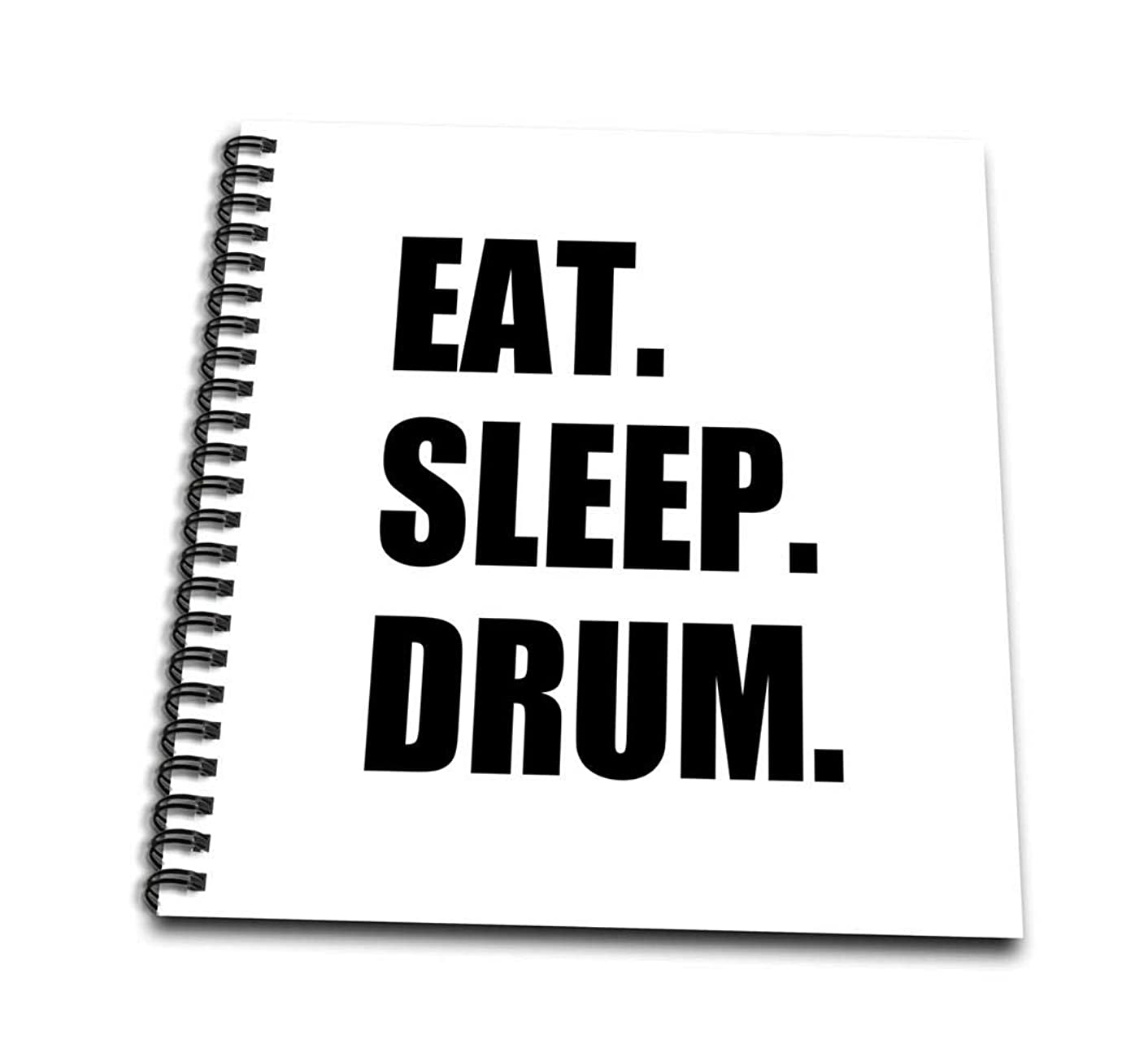 3dRose db_180399_1 Eat Sleep Drum-Love Drumming. Drummer Percussionist Black Text Gifts-Drawing Book, 8 by 8-Inch