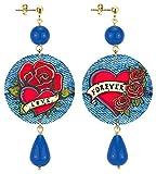 IN Lebole Collezione The Circle Love And Forever Orecchini da Donna in Ottone Pietra Blu