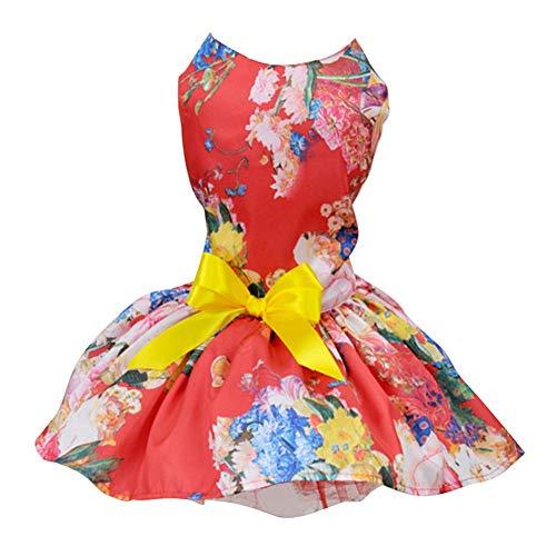 Savlot hondenjurk huisdier lente zomer trouwjurk voor kleine en middelgrote honden prinses bloemen patroon rok puppy outfit, Large, rood