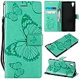 Sangrl PU-Leder Hülle Für Sony Xperia XA1, 3D Butterfly Flip Schale Brieftasche Mit Bracket-Funktion Kartenfächer Wallet Hülle Tasche Für Sony Xperia Z6 - Grün