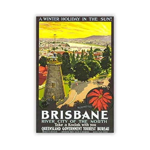 yhyxll Brisbane Australia Turismo Vista de la Ciudad Póster Decoración Vintage Pintura Impresión en Lienzo Imagen Sala de Estar Arte de la pared-50X70Cm Marco Interior de Madera