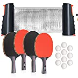 Square Bear Sport Professional Ping Pong Net for Any Table | Ping Pong Set for All Ages | Table Tennis Set Includes - 1 Retractable Net, 4 Table Tennis Racket, 8 Ping Pong Ball & Storage Case