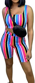 FSSE Women's Casual Sport Sleeveless Stripe Print Cropped Top & Shorts 2 Pcs Outfits
