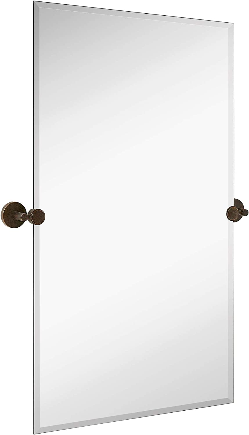 Hamilton Hills Large Pivot Rectangle Mirror with Oil Rubbed Bronze Wall Anchors   Silver Backed Adjustable Moving & Tilting Wall Mirror   24