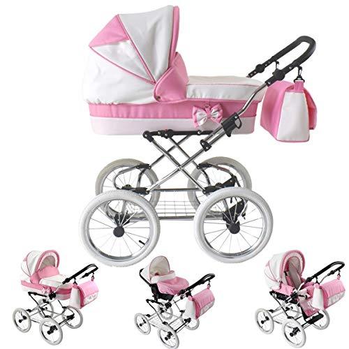 Lux4Kids Kinderwagen Retro La Sweet 3in1 2in1 Isofix Pink 2in1 ohne Babyschale