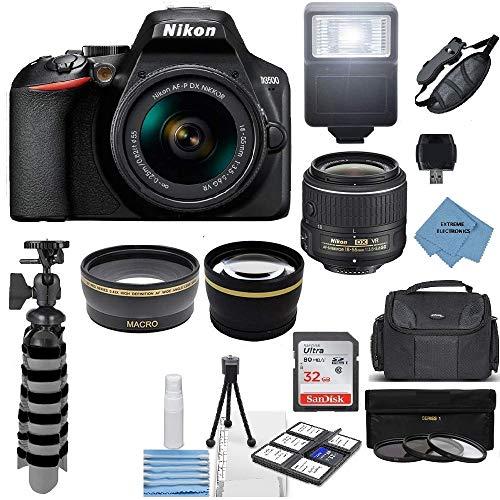 Nikon Intl D3500 24.2MP DSLR Camera + AF-P DX 18-55mm VR NIKKOR Lens Kit + Accessory Bundle + Extreme Electronics Cloth
