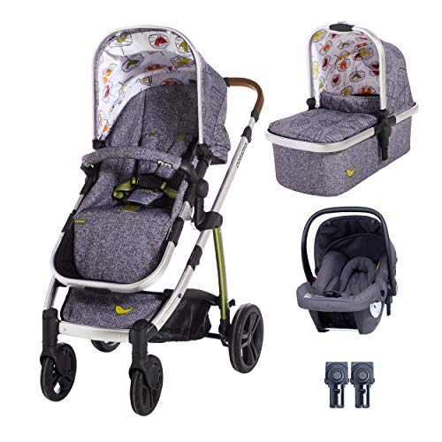 Cosatto Wow Travel System in Dawn Chorus with Hold Graphite Car seat and Raincover