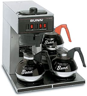 Commercial Coffee Brewer Pour Over, 3 Warmers - Black Finish
