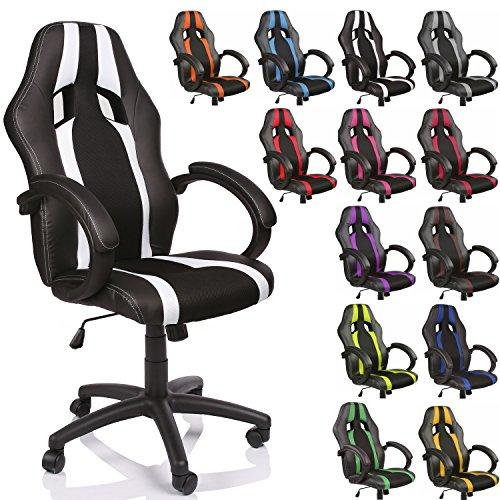 TRESKO® Poltrona Sedia direzionale da ufficio Racer classe di lusso - disponibile in diversi colori (nero/bianco)
