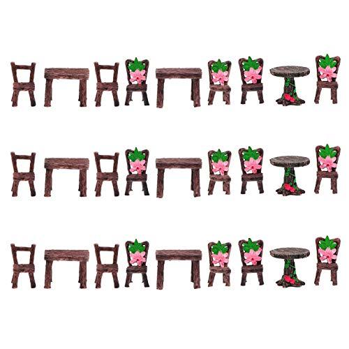 YARNOW 9 Piezas Conjunto de Sillas de Mesa en Miniatura Adornos de Muebles de Jardín de Hadas para Diy Jardín de Hadas Bonsai Accesorios de Casa de Muñecas