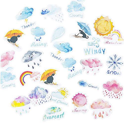 moin moin シール フレークシール | 雨の日の猫 | 傘 天気 雨 虹 | リアル/スケジュール 手帳 アルバム デ...