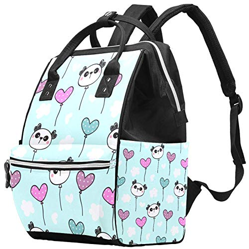 Mignon Cartoon Panda Sac à dos de voyage Casual Daypack Maternité Sac à langer Organisateur de soins d'allaitement Bouteille