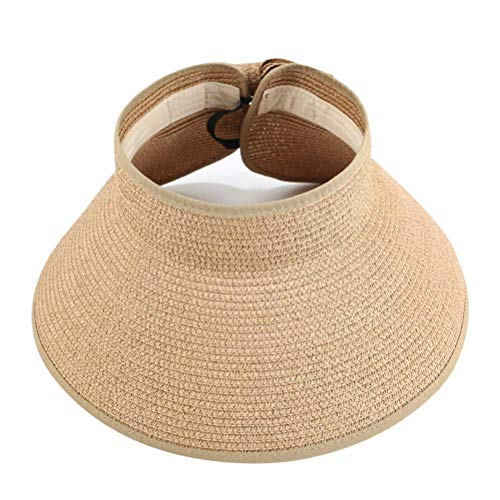 Rlevolexy Sombrero de visera para mujer, ala ancha, plegable, enrollable, para playa, paja