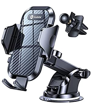 [Holder Expert] andobil Car Phone Mount [Safe Driving & Bumpy Roads Friendly] Easy Clamp Hands-Free Universal Dashboard Windshield Air Vent Phone Holder Car Fit for All Phones iPhone Samsung