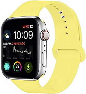 MOOLLY for Watch Band 38mm 40mm 42mm 44mm, Soft Silicone Watch Strap Replacement Sport Band Compatible with Watch Band SE Series 6/5/4/3/2/1 Sport & Edition (Pollen Yellow MOOLLY, 40mm(38mm) S/M)