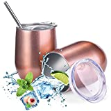 2 Pack Wine Tumbler with Lids, 12 oz Double Wall Vacuum Insulated Stainless Steel Stemless Wine Glass, Travel Coffee Mug Cup with 2 Straws 2 Brush for Wine, Drinks, Champagne, Cocktails (Rose Gold)