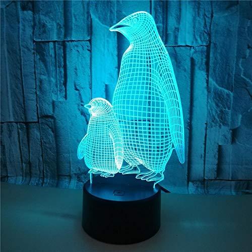 Pinguin 3D Illusionslampe Schlafzimmer Nachttisch Nachtlicht LED kleine Kinder Tischlampe Stimmung Wake-up Schlaflampe für Baby Schlafzimmer Dekoration Kinder Weihnachten Geburtstagsgeschenk-Berühren