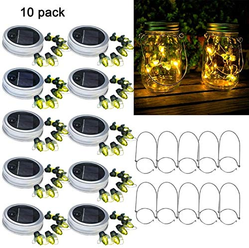 Solar Mason Jar Lid Firefly Light Outdoor Waterproof Rustproof 10 Packs 6LED Firefly Mason Jar Lights Including 10 Hangers (Including Jars) For Terrace Garden Decoration Glass Jar Lights UKLLYY
