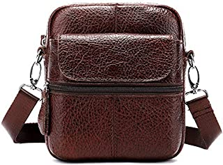 FYXKGLan Men's Genuine Leather Retro Casual Male Single Shoulder Bag (Color : Brown)