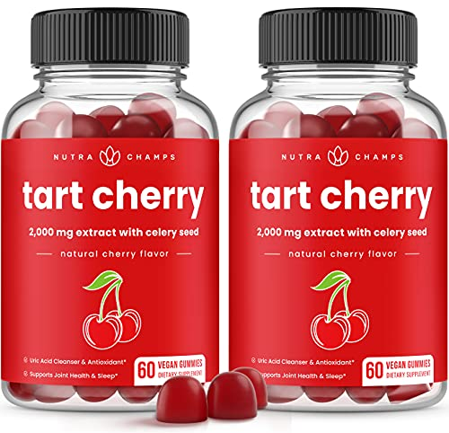 (2-Pack) 120 Tart Cherry Gummies - 2000mg Supplement with Celery Seed Extract - Vegan Tart Cherry Concentrate Gummy Vitamin - Natural Uric Acid Cleanser, Inflammation, Muscle Recovery & Joint Relief