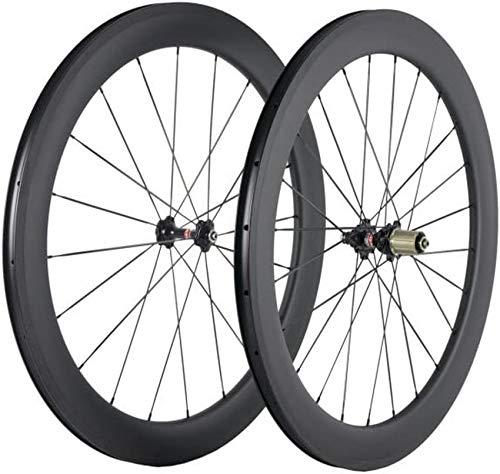 BIKE Ruote in carbonio 60mm Profondità 25mm Larghezza Ruote copertoncino 700c Cerchio da ciclismo su strada