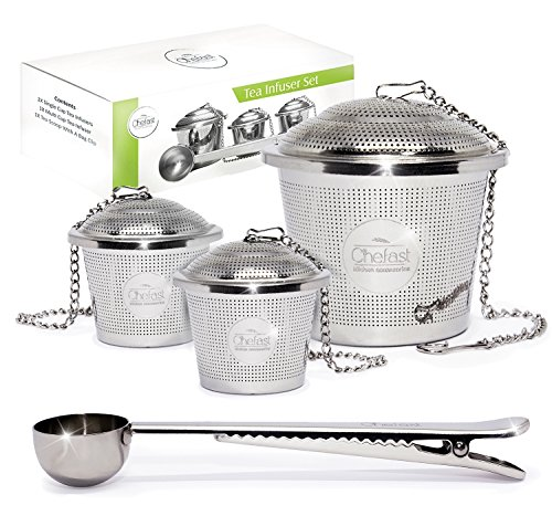 3 piece tea infuser set stainless steel