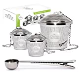 Chefast Tea Infuser Set (2+1 Pack) - Combo Kit of 1 Large and 2 Single Cup Infusers, Plus Metal Scoop with Clip - Reusable Stainless Steel Strainers and Steeper for Loose Leaf Teas