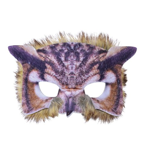 Forum Novelties BN-X78697 Owl Mask 3D Screen Print Realistic Look Soft Face Mask Fun Fur Adult Or Child, One Size, Pack of 1