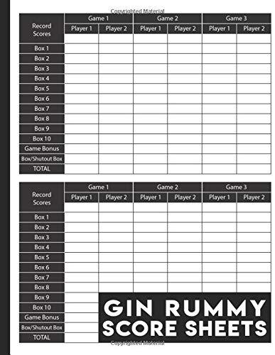 Gin Rummy Score Sheets: 130 Large Gin Rummy Score Pads