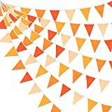 10M/32Ft Triangle Flag Fabric Banner Cotton Pennant Garland Cloth Bunting for Fall Decor Autumn Wedding Birthday Party Thanksgiving Day Home Nursery Outdoor Garden Hanging Decoration (Orange+36Pcs)