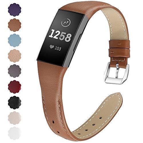 KIMILAR compatibel met Fitbit Charge 3 / Charge 4 Bandje Leer, Man Vrouw Vervanging Zacht Armbanden voor Fitbit Charge 3 / Charge 4 / Special Edition Fitness Tracker