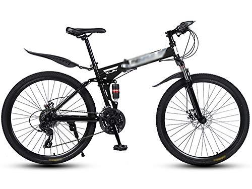 ZHONGXIN Bicicleta Plegable, Bicicleta de montaña Plegable de 26 Pulgadas, Bicicleta de Ciudad, Bicicleta Plegable de Doble Disco con Marco de Acero (D4,21 Speed)