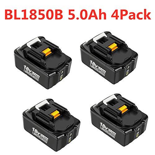 VANTTECH 4 Stück BL1850B Ersatzakku für Makita 18V 5,0Ah Li-Ion Akku Kompatibel mit Makita BL1850B BL1850 BL1860B BL1860 BL1840B BL1840 BL1830 BL1845 194204-5 LXT-400 mit LED Indikator