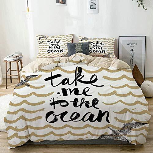 Completo Copripiumino Beige, Portami all'oceano Onde astratte e gabbiani Vacanze estive, Set biancheria da letto decorativo in 3 pezzi con 2 federe per cuscino