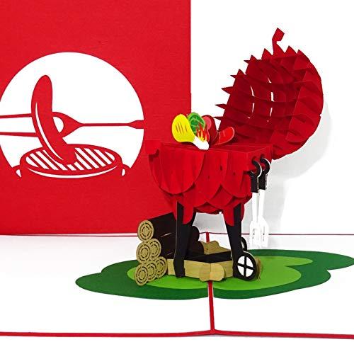 """Pop-Up Karte """"BBQ Grill – Grillmeister"""" 3D Geburtstagskarte & Einladungskarte zum Grillen - als Gutschein für Männer & Einladung zu Grillparty & Grillabend"""