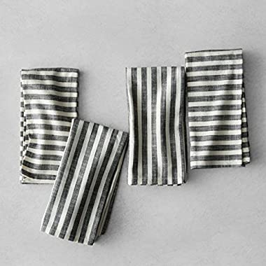 Hearth and Hand with Magnolia Striped Napkins (Set of 4) Black/Cream Joanna Gaines Collection Limited Edition