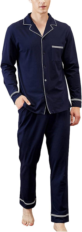 Men's Pajama Set Bamboo Fiber Long Sleeve Sleepwear Lightweight Button Down Tops and Pants/Bottoms Pj Set Loungewear