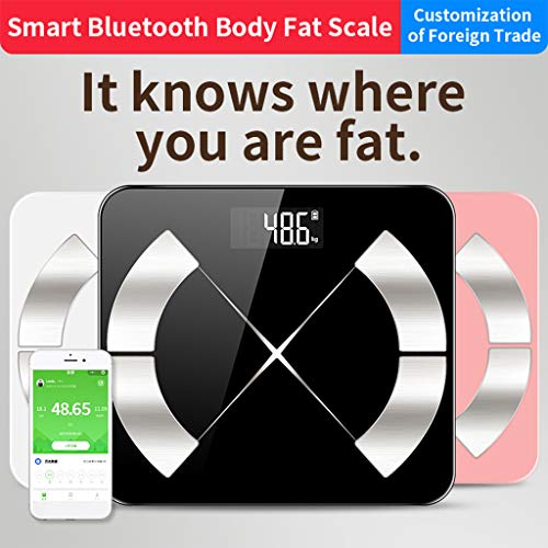 Digitalwaage Smart-Körperfettwaage Bluetooth Digitale Personenwaage Mit 24 Wesentliche Merkmale High Precision Körpergewicht Body Mass Index (BMI) Viszeral Fat Free Smartphone App Auto-Off,Rosa
