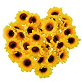 HUIANER 30PCS Artificial Sunflower Heads, 2.8' Fake Simulation Sunflower Head for Wedding Home Party Cake Decoration(Orange Yellow)
