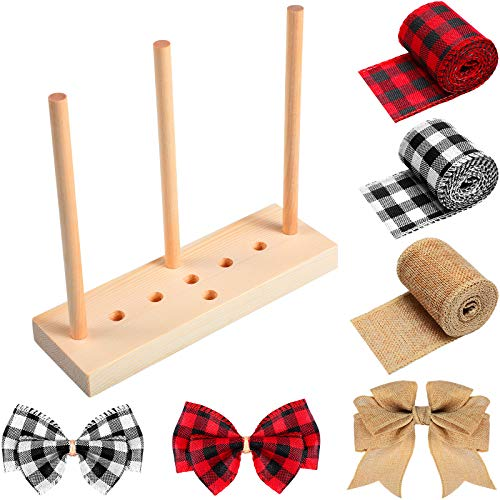 Wooden Ribbon Bow Maker with 3 Rolls Wired Burlap Craft Ribbons for Christmas Bows Holiday Wreaths Crafts Decoration