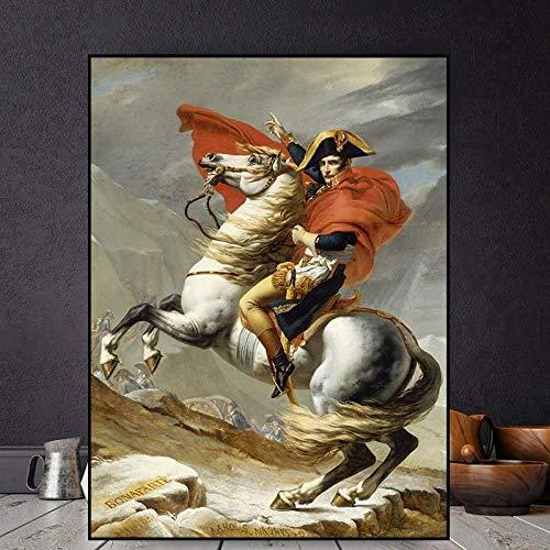 qianyuhe Cuadro de Arte de Pared Clásico Napoleón Bonaparte Retrato Caballo Pintura al óleo Lienzos Carteles Impresos para Sala de Estar Decoraciones para el hogar 60x90cm (24x36 Pulgadas