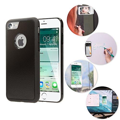 NALIA Antigravità Custodia compatibile con iPhone 7, Protezione Slim Anti-Gravity Selfie-Case Magica Auto-Adesivo Cellulare, Cover Protettiva Telefono Bumper Sottile, Colore:Nero