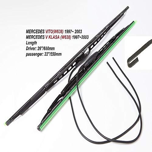 Byrhgood para Mercedes Vito W638 26'+22' 1 Set de la Hoja de limpiaparabrisas de Goma Mercedes V KLasaw (Color : 26 and 22)