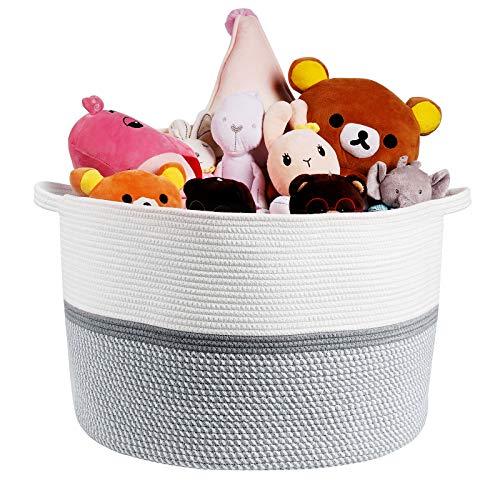 FUTURE FOUNDER Große Aufbewahrungskorb Wäschekorb Geflochten Wäschesammler Baumwolle Körbchen zur Organisation von Wäsche, Decken, Baby-Spielzeugen, Kinderzimmer 55x35cm