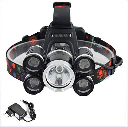 Xiaojie 5LED T6 luz principal 4*XPE aleación de aluminio al aire libre pesca faro recargable fuerte luz larga disparo faro