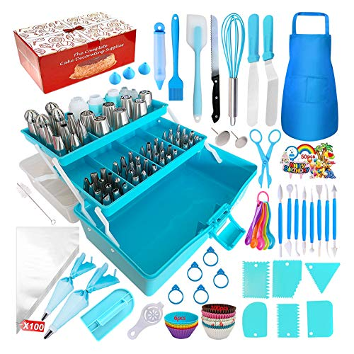 Cake Decorating Tools 368-Piece Piping Bags and Tips Set, Baking Supplies with 65 Piping Tips, Cake Decorating Supplies Kit with Multi-Purpose 3-Layer Toolbox