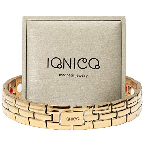 IONICO Stylish Magnetic Therapy Bracelet for Men and Women Health Improvement | Reliefs Arthritis, Carpal Tunnel, migraine, Headache Pain, Blood Pressure | Strong Energy with Healing Power (Gold)
