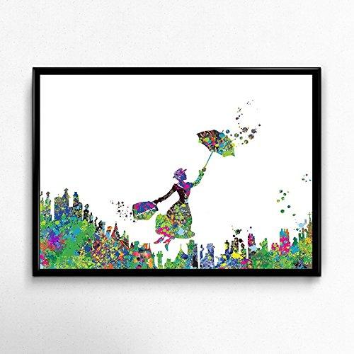 Nacnic Poster de Mary Poppins Estilo Acuarela. Láminas de Cine, películas, y actores. Posters de películas Antiguas con Estilo Acuarela. Tamaño A4 con Marco
