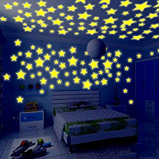 100pcs Luminous yellow star wall stickers for livingroom glow in the dark festival home decoration