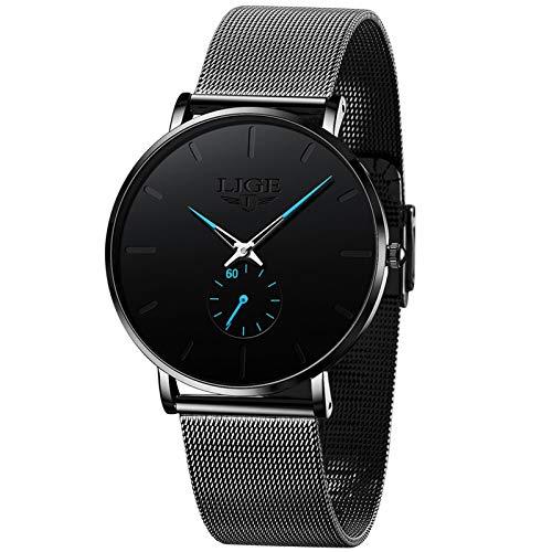 LIGE Reloj de Pulsera para Hombre Sencillo Ultrafino 3ATM Resistente Analógico Cuarzo Negro Reloj de Hombre Acero Inoxidable Malla Minimalista para Mujer Vestido Gents Relojes
